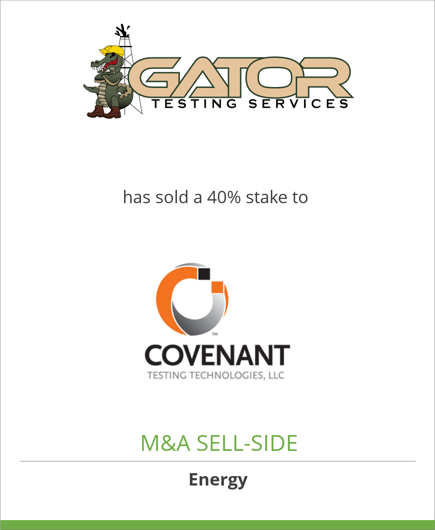 Gator Testing Services, LLC has sold a 40% stake in Covenant Testing Technologies, LLC