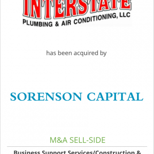 Interstate Plumbing & Air Conditioning has been acquired by Sorenson Capital