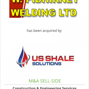 W. Pidhirney Welding Ltd. has been acquired by U.S. Shale Solutions Inc.
