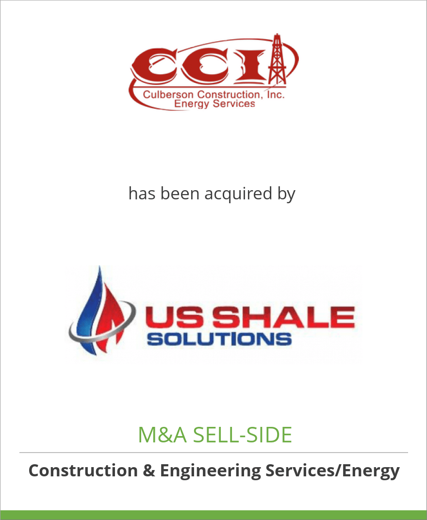 Culberson Construction, Inc. has been acquired by U.S. Shale Solutions, Inc.