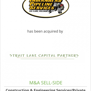 Indianhead Pipeline Services LLC has been acquired by Strait Lane Capital Partners, LLC