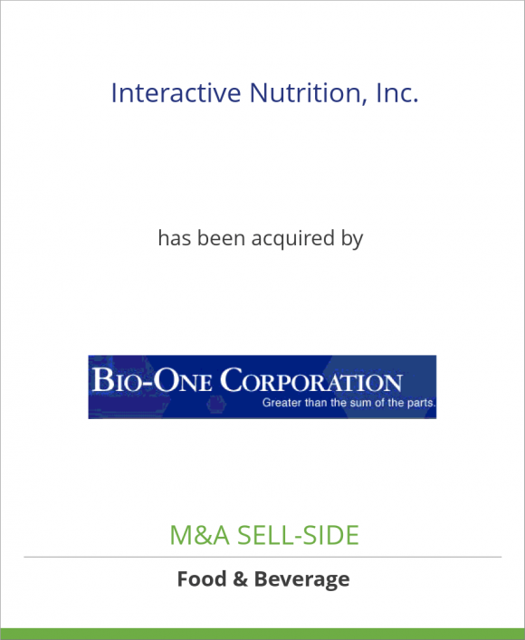 Interactive Nutrition, Inc. has been acquired by Bio-One Corporation