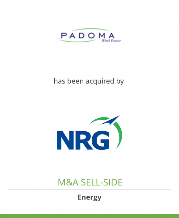 Padoma Wind Power, LLC has been acquired by NRG Energy, Inc.